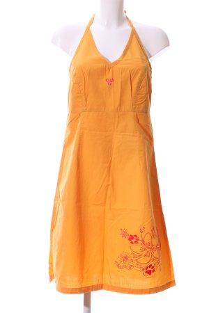 Jack Wolfskin Vestido de cuello Halter naranja claro estampado temático