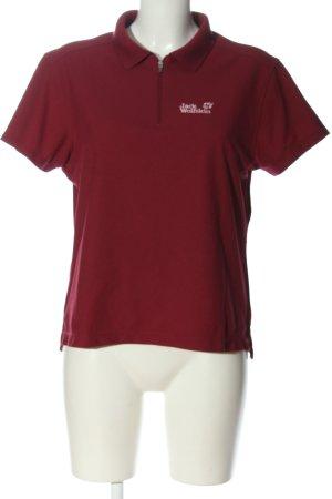 Jack Wolfskin Polo-Shirt rot Schriftzug gestickt Casual-Look