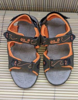 Jack Wolfskin Strapped High-Heeled Sandals orange-grey brown mixture fibre