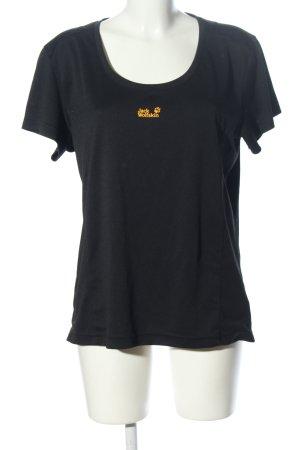 Jack Wolfskin Sportshirt schwarz-hellorange Schriftzug gedruckt sportlicher Stil