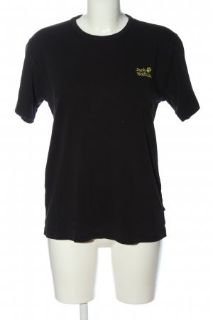 Jack Wolfskin T-Shirt black embroidered lettering casual look