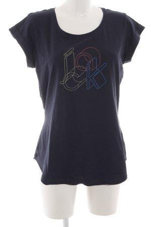 Jack Wolfskin T-Shirt blau Schriftzug gedruckt Casual-Look