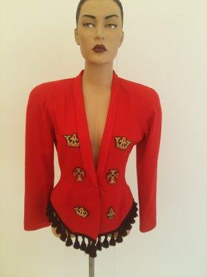 Veste en laine rouge-noir