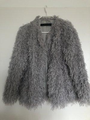 Zara Giacca in pelliccia argento