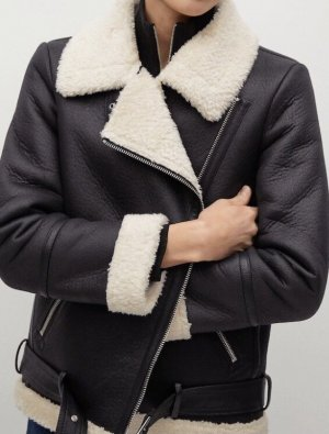 Mango Premium Biker Jacket black-natural white