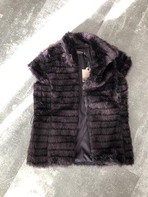 Chaleco de piel violeta amarronado-negro