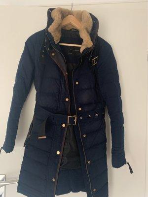 Zara Quilted Coat dark blue