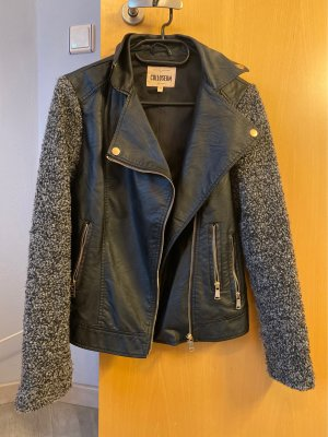 Colloseum Faux Leather Jacket black-grey
