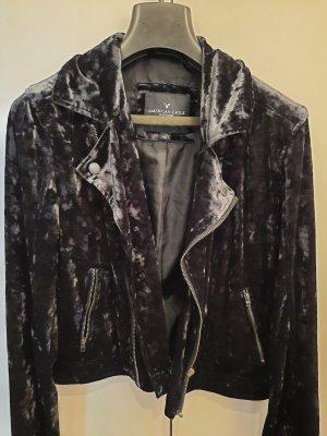 American Eagle Outfitters Veste motard noir-gris anthracite