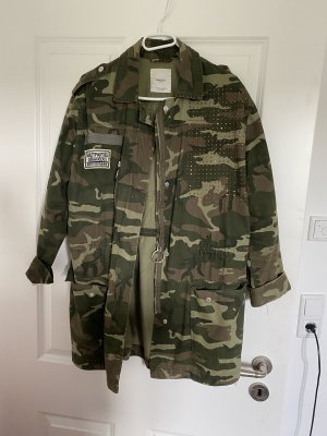 Jacke army Glitzer Statement blogger khaki oversize