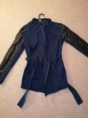 Leren jurk zwart-donkerblauw