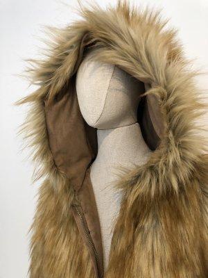 Zara Giacca di pelliccia marrone-marrone chiaro