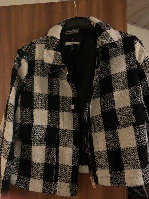 Mango Pea Jacket black-white wool