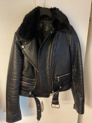 Zara Fake Fur Jacket black