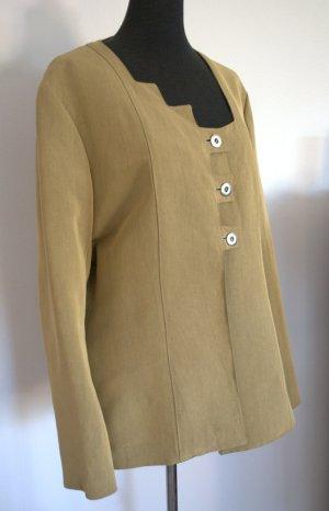 Jacke Blazer senffarben asymmetrischer Ausschnitt Gr. 40-42 Eigenentwurf Handgefertigt