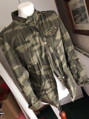 Milestone Military Jacket grey brown-green grey cotton