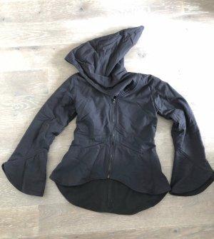 Jacke Canvas Baumwolle gefüttert Fleece schwarz Elfenjacke Zipfelkaputze Gr.M 36/38
