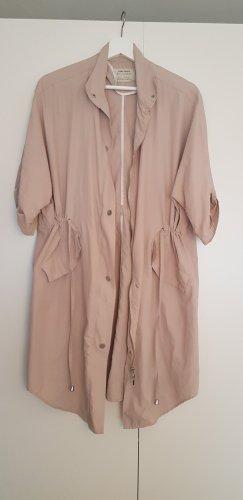 Zara Basic Długa kurtka jasnobeżowy