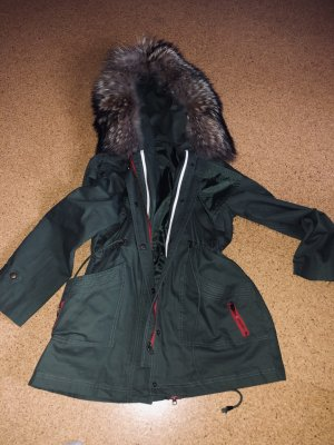 Cappotto con cappuccio grigio-verde