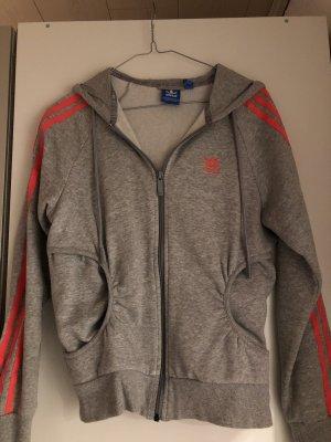 Adidas Chaqueta deportiva gris-naranja neón