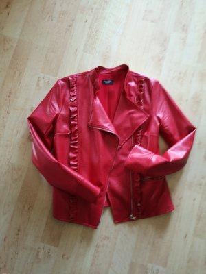 Veste en cuir synthétique rouge