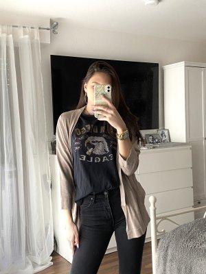Zara Gebreid jack met korte mouwen lichtbruin-beige