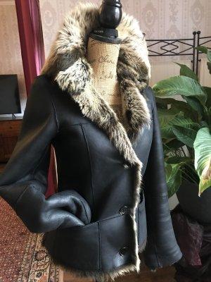 Hugo Boss Chaqueta de piel negro-crema