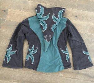 Jacke Fleece Bestickung gefüttert Baumwolle blau hellblau Gr. 38/40 Zipfelkaputze