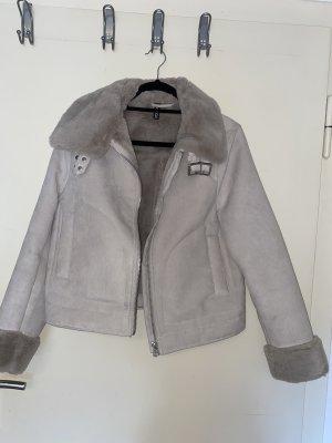 H&M Futrzana kurtka szary-jasnoszary