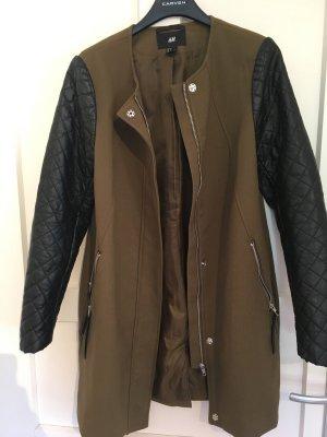 Jacke H&M Lederärmel Größe 36 Schwarz Khaki Oliv Grün