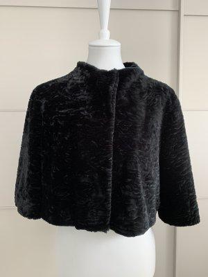 Jacke Hallhuber 38 Fake-Fur schwarz cropped