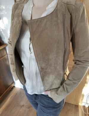 Jacke hellbraun Reißverschluss Lederjackestil