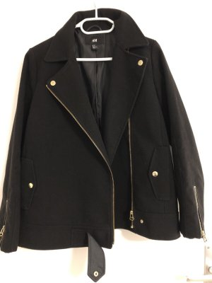 H&M Pea Jacket black-gold-colored
