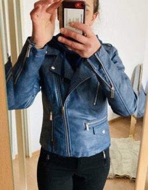 Jessica Veste motard bleu acier