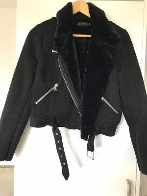 Jacke im Bikerstyle in Velourslederoptik