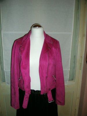 Jacke im Bikerstyle 'New Look' Gr. 42 - pink – Velours
