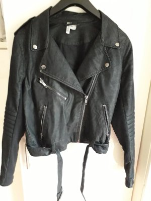 H&M Divided Bikerjack zwart Viscose