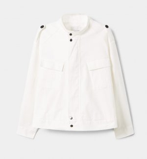 Violeta by Mango Military Jacket white-black cotton