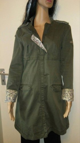 lola Long Jacket khaki-olive green cotton