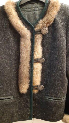 Hasegg Veste en laine vert foncé-doré laine