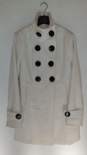 Jacke in Wolloptik, beige, doppelreihig geknöpft, wenig getragen
