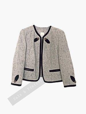 Jacke Jäckchen beige grau Salz Pfeffer braun Leder Tracht kurz Blazer Tasche meico | Vintage | 40-44