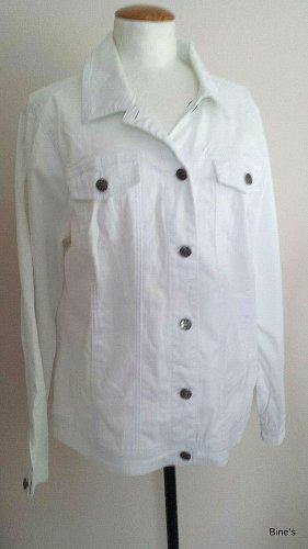 Jacke Jeansjacke weiß Gr. 44 AA 52 cm 96 % Baumwolle 4 % Elasthan