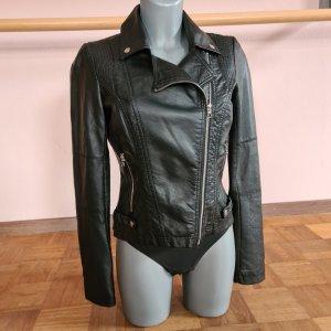 Jacke Kunstlederjacke Lederjacke Tom Tailor XS 34 schwarz Bikerstil