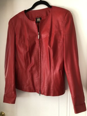 Jacke/Kurzjacke aus Echtleder in rot, Größe 40