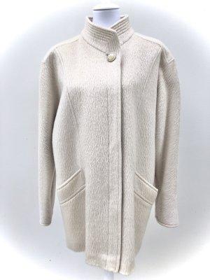 JACKE KURZMANTEL GR 38 40 WEISS BEIGE WINTER 100% Wolle