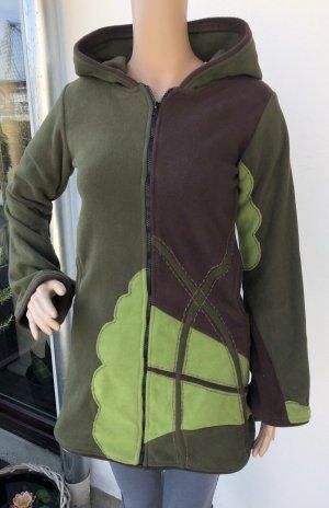 Jacke lang Fleece waldgrün lange Zipfelkapuze Pixie Gr.34/36 2 Taschen Reißverschluß