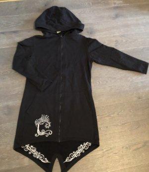 Jacke lang Sweatjacke schwarz Baumwolle Bestickung silbergrau Lebensbaum Gr.XL große Kapuze