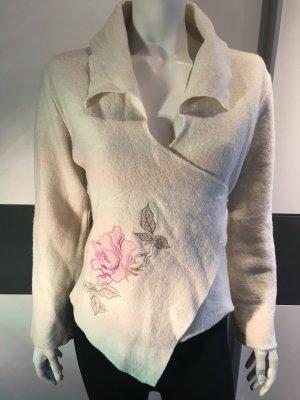 Lysgaard Wełniany sweter w kolorze białej wełny-różowy
