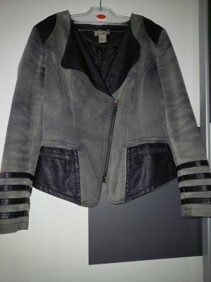 Mandarin Veste en cuir synthétique noir-gris